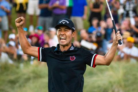 Kevin Na celebrates his victory on the second playoff hole at 18 during the final round of Shri ...