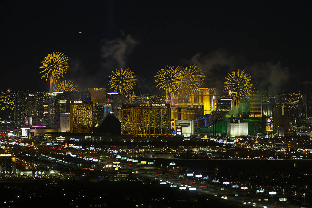 New Year's fireworks explode over the Las Vegas Strip ringing in 2019. Richard Brian Las ...