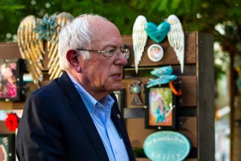 Bernie Sanders visits the Las Vegas Healing Garden on Tuesday, Oct. 1, 2019 in Las Vegas. (L.E. ...