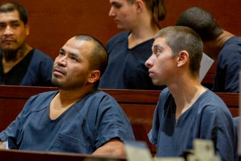 Gerardo Aparicio, 35, left, and Oscar Reyes, 19, both charged for murder, appear at their court ...