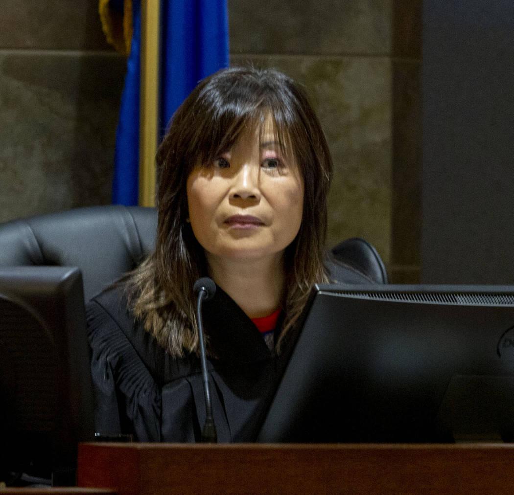 Las Vegas Justice of the Peace Pro-Tem Jeannie Hua listens to the defense attorney for Gerardo ...