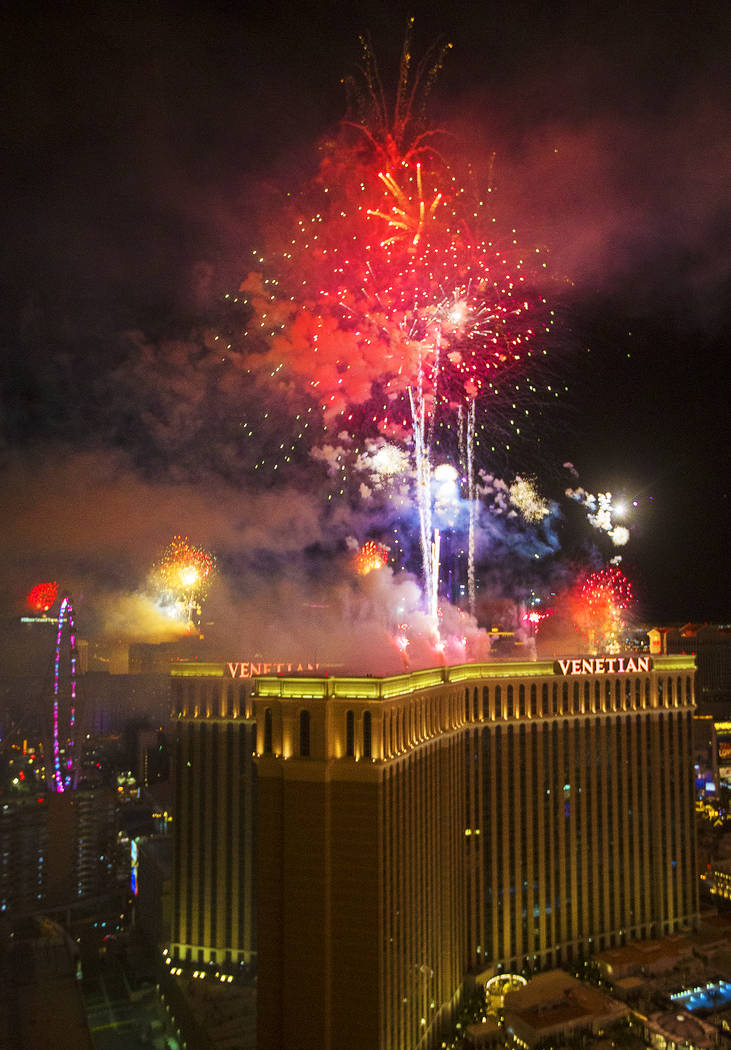 Fireworks light up the sky above The Venetian on the Strip on Wednesday, Jan. 1, 2020, in Las V ...