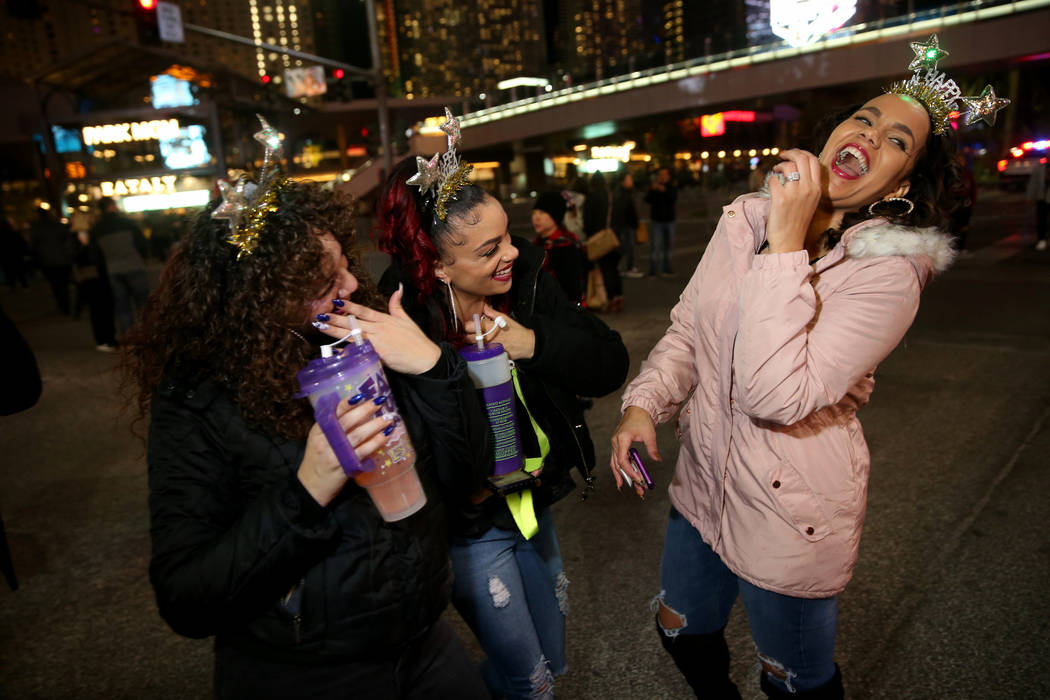 Jennifer Gonzalez of New York, from left, Laticia Clinton of Las Vegas and Danielle Porter of S ...