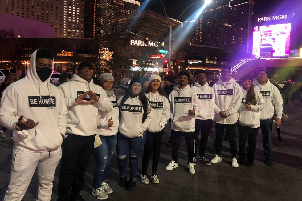 "A group wearing ""Be Humble"" sweatshirts on Las Vegas Boulevard near the Park Theater. ..."