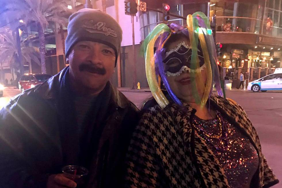 Rudy and Sylvia Solis celebrate the new year in the Fremont East District in Downtown Las Vegas ...
