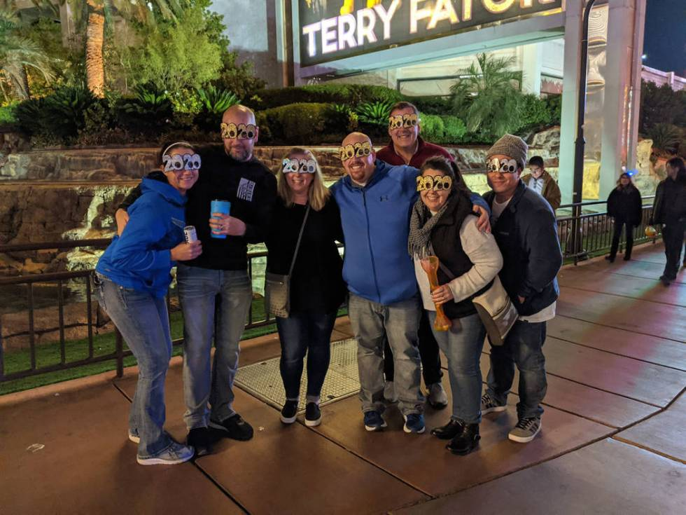 A group of friends from Tacoma, Washington celebrates New Year's Eve on the Las Vegas Strip (Ma ...