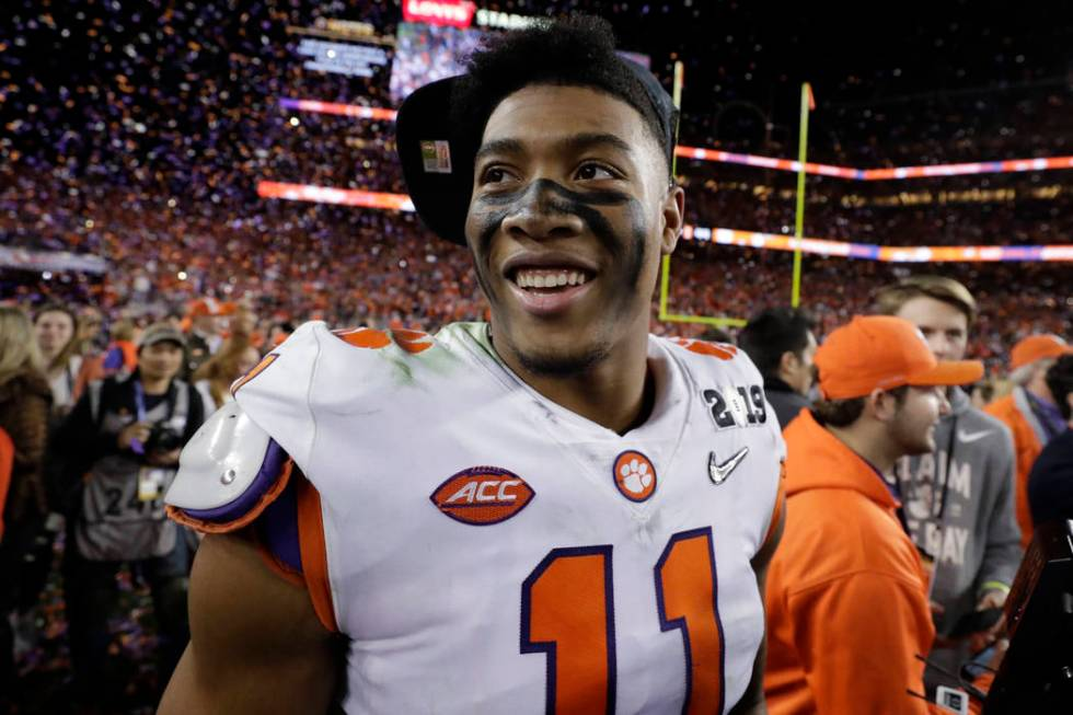 Clemson's Isaiah Simmons celebrates after the NCAA college football playoff championship game a ...