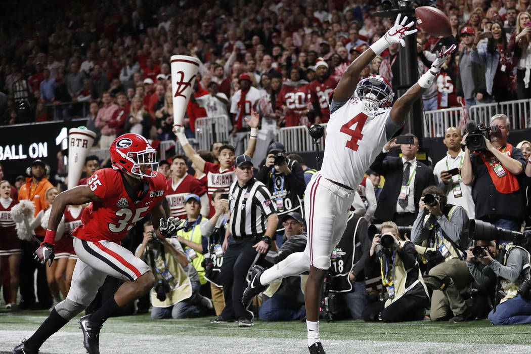 Alabama's Jerry Jeudy can't catch a pass in the end zone during the second half of the NCAA col ...