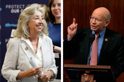 U.S. Reps. Dina Titus, D-Nev., left, and Peter DeFazio, D-Ore., who chair the House Transportat ...