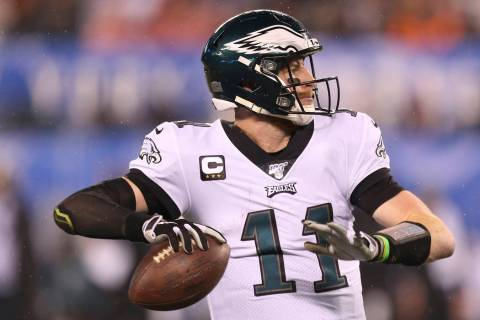 Philadelphia Eagles quarterback Carson Wentz (11) during an NFL football game against the New Y ...