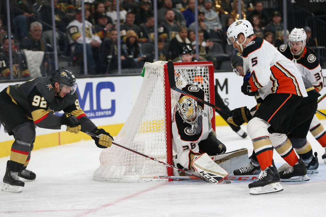 Vegas Golden Knights left wing Tomas Nosek (92) shoots the puck against Anaheim Ducks goaltende ...