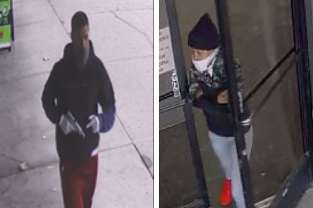 Police are looking for a man and woman in connection to an armed robbery Thursday, Dec. 26, 201 ...