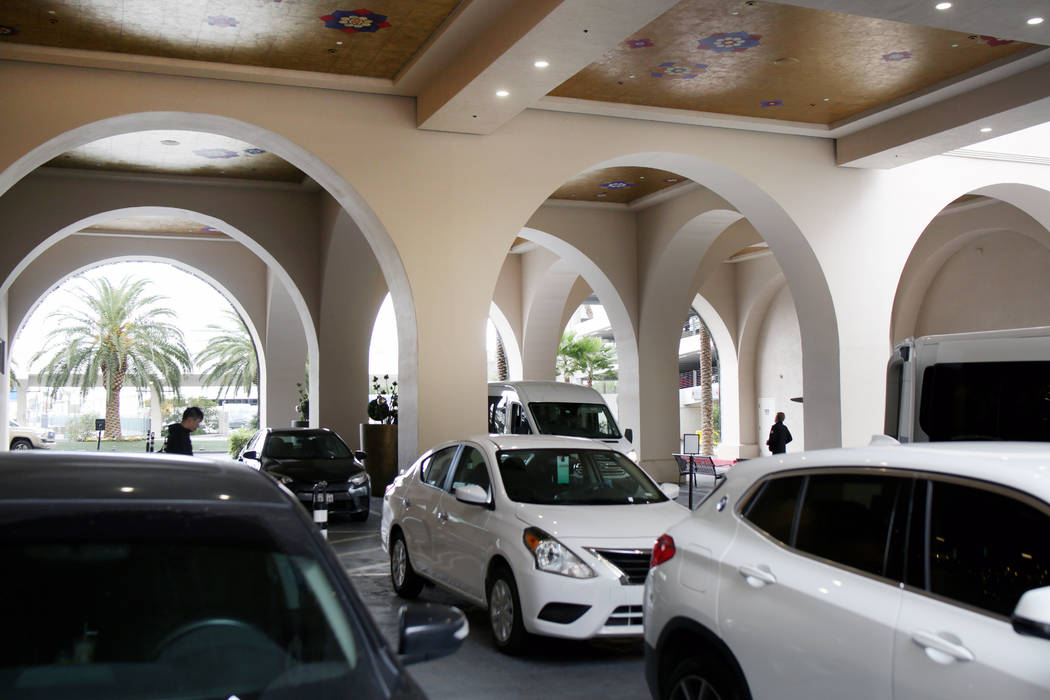 Vehicles are dropped off at the free valet parking at the Sahara Las Vegas on Friday, Dec. 20, ...
