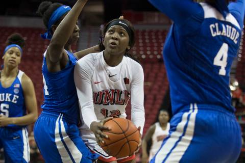 UNLV freshman Anna Blount, center, shown in November, had five rebounds in 10 minutes Saturday, ...