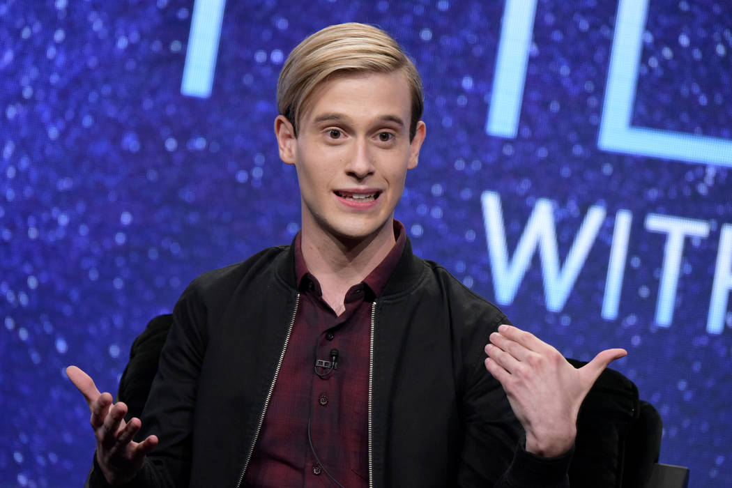 "Tyler Henry participates in the E! network's ""Hollywood Medium with Tyler Henry"" pane ..."