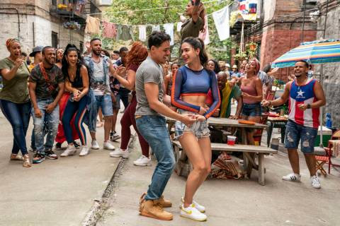"From left, Anthony Ramos as Usnavi and Melissa Barrera as Venassa in Warner Bros. Pictures' ""In ..."