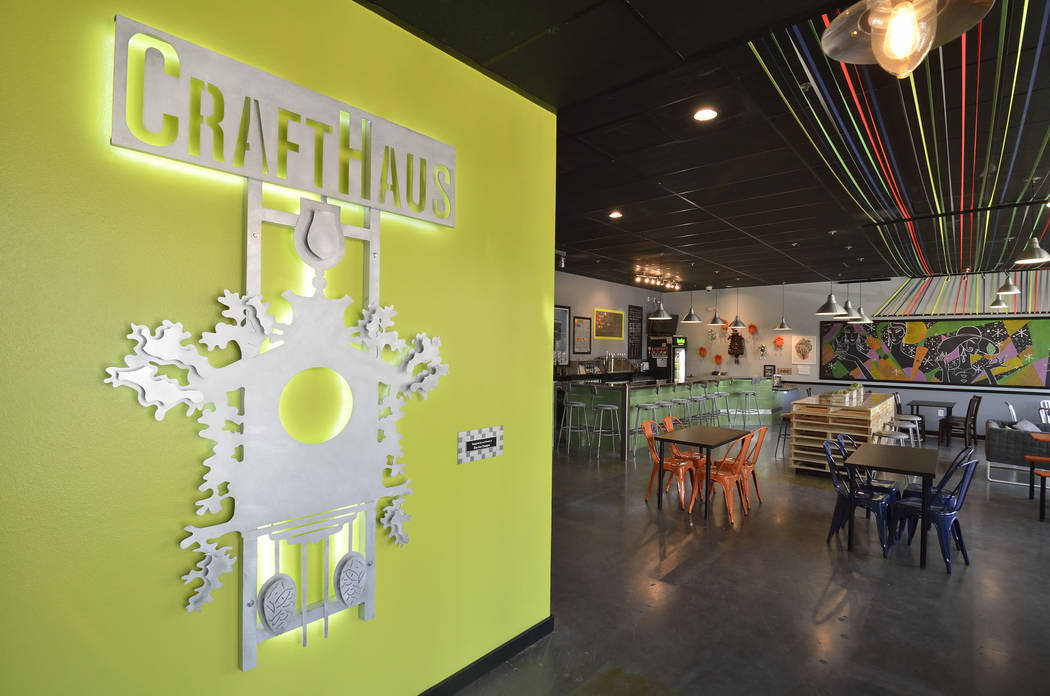 The taproom is shown at the CraftHaus Brewery at 7350 Eastgate Road in Henderson. (Review-Journ ...