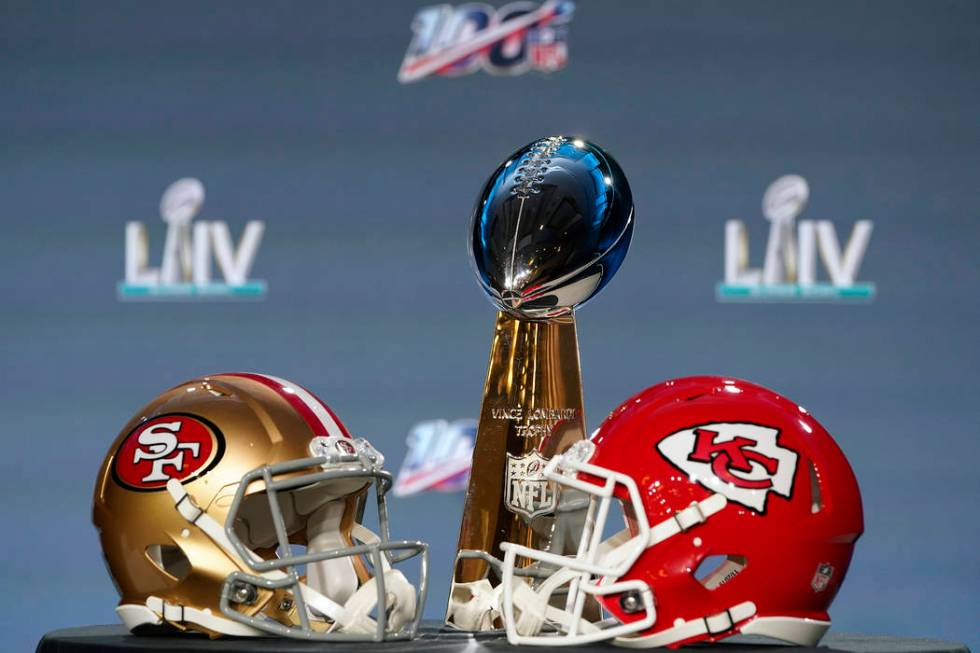 The Vince Lombardi Trophy is displayed before a news conference for the NFL Super Bowl 54 footb ...