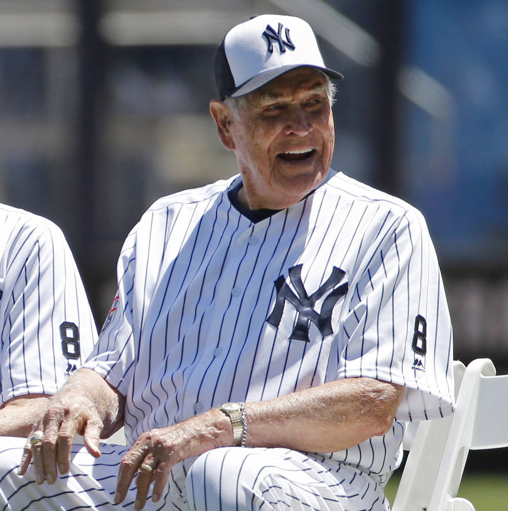 FILE - In this June 12, 2016, file photo, former New York Yankees player Eddie Robinson smiles ...