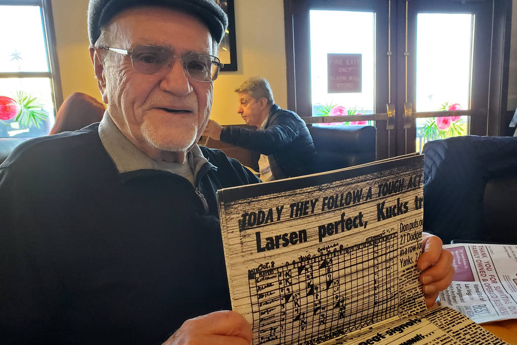 Longtime Las Vegan Herb Jaffe holds a photocopy of his story about Don Larsen of the New York Y ...