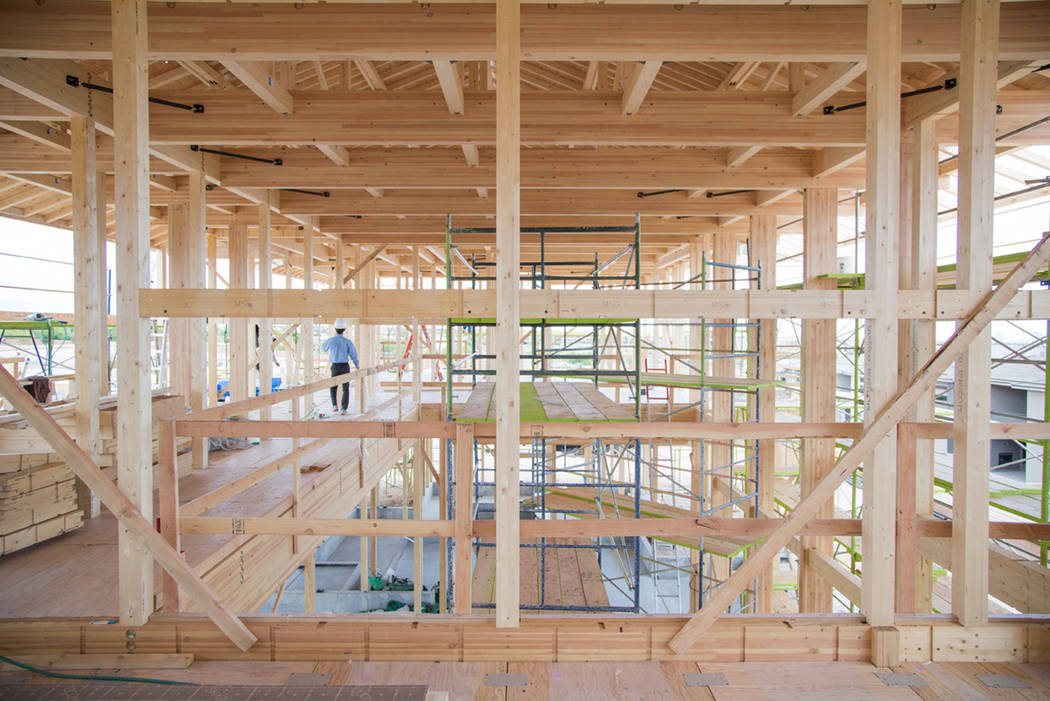 The framing of the house, which measures 5,400 square feet, was completed in eight days with a ...