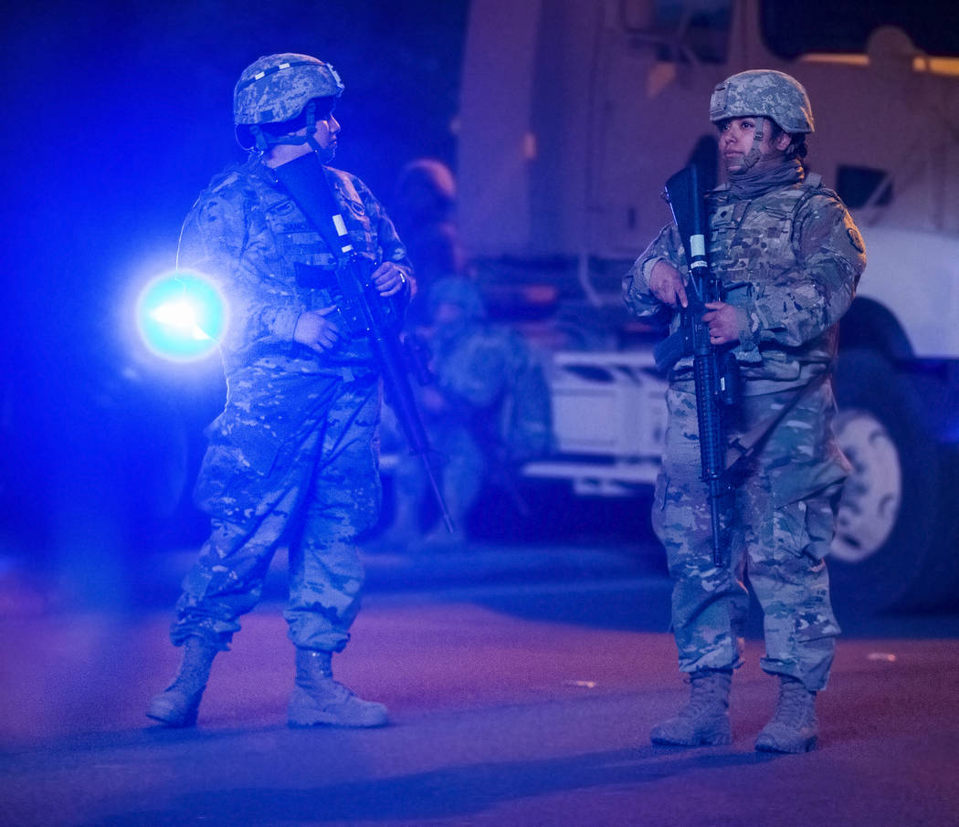 Military forces provide extra security on the Strip on Tuesday, Dec. 31, 2019, in Las Vegas. (B ...
