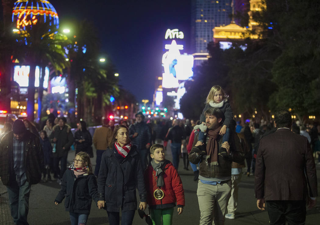 Las Vegas Boulevard is filled with visitors on the Strip on Tuesday, Dec. 31, 2019, in Las Vega ...