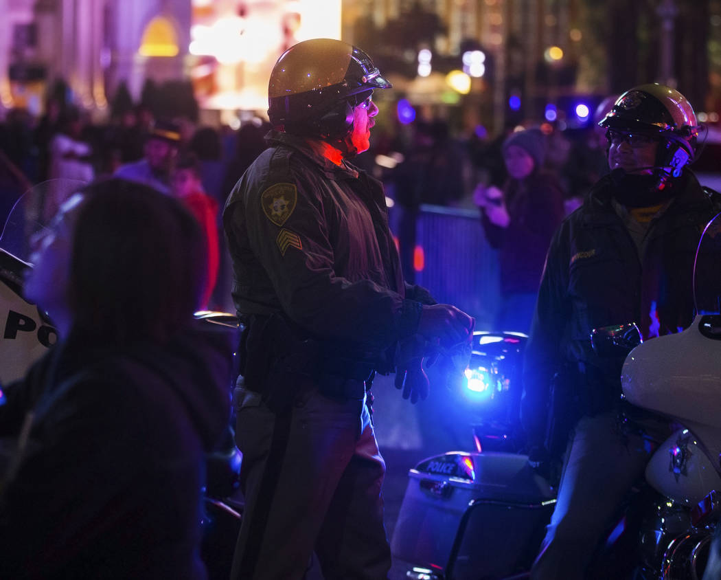 Metro provides security on the Strip on Tuesday, Dec. 31, 2019, in Las Vegas. (Benjamin Hager/L ...