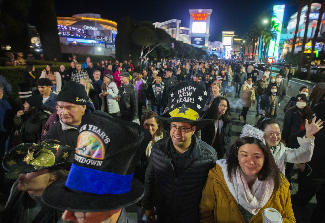 The Strip is packed with New Year's Eve goers on Tuesday, Dec. 31, 2019, in Las Vegas. (Benjami ...