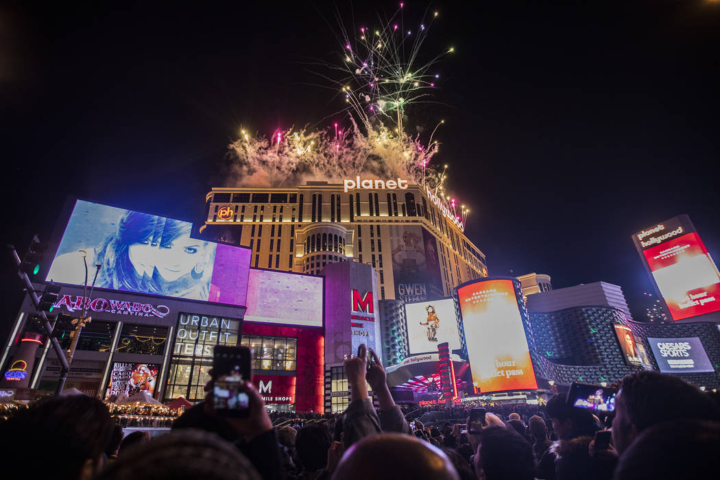 Fireworks about Planet Hollywood on New Year's Eve in Las Vegas, Wednesday, Jan. 1, 2020 ...