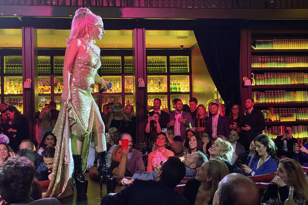 Lady Gaga and Brian Newman, not pictured, perform at NoMad Restaurant at Park MGM on the Strip ...