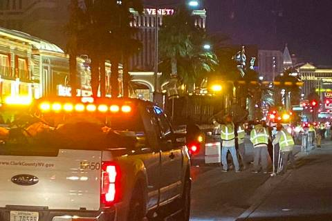 About 12 to 15 tons of trash are picked up along the Las Vegas Strip between Mandalay Bay and S ...
