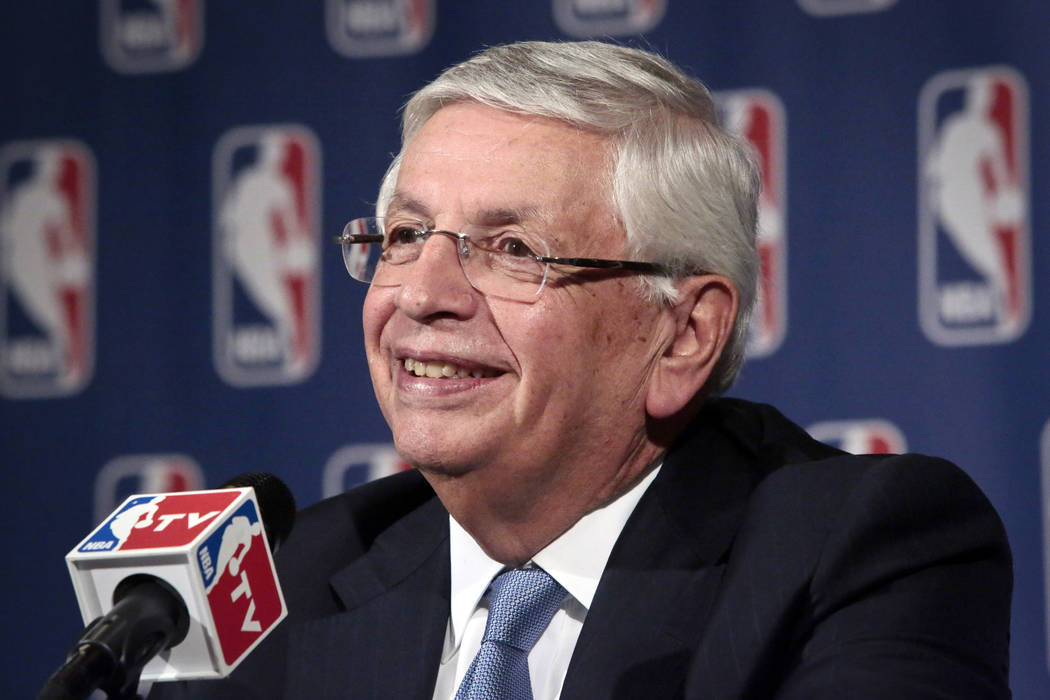 FILE - In this Oct. 23, 2013 file photo, NBA Commissioner David Stern smiles during a news conf ...