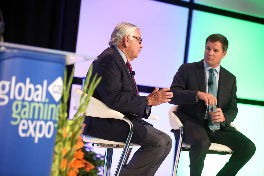 NBA Commissioner Emeritus David Stern, left, speaks during a conversation with Geoff Freeman, p ...