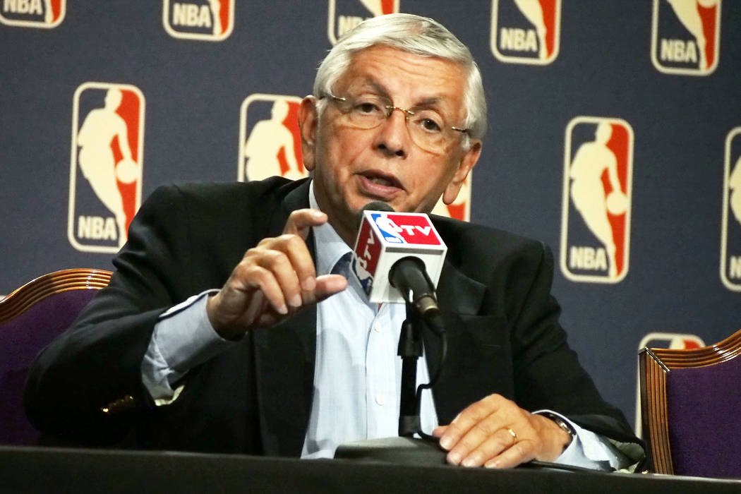 NBA commissioner David Stern speaks during a news conference following the board of governors m ...