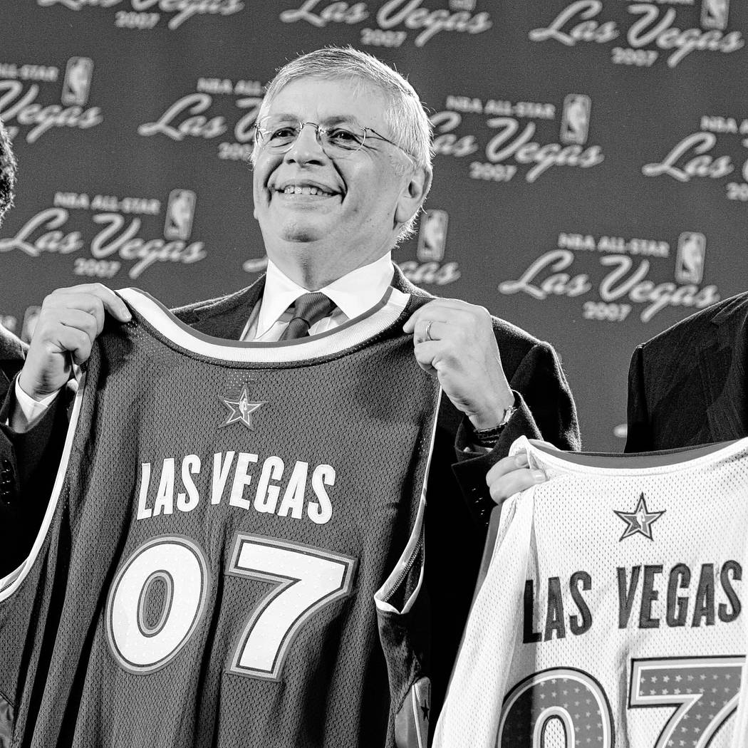 NBA Commissioner David Stern poses at a press conference in Las Vegas Friday, Aug. 5, 2005 to a ...