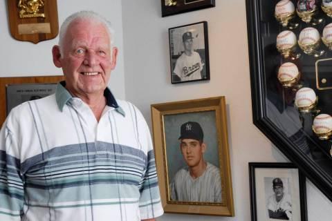 Former New York Yankees pitcher Don Larsen stands in his memorabilia room, Wednesday, Aug. 2, 2 ...