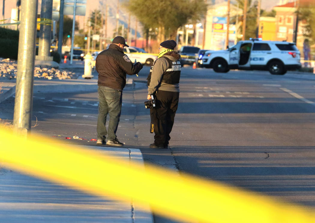 North Las Vegas police investigate after a man was fatally shot by two North Las Vegas police o ...