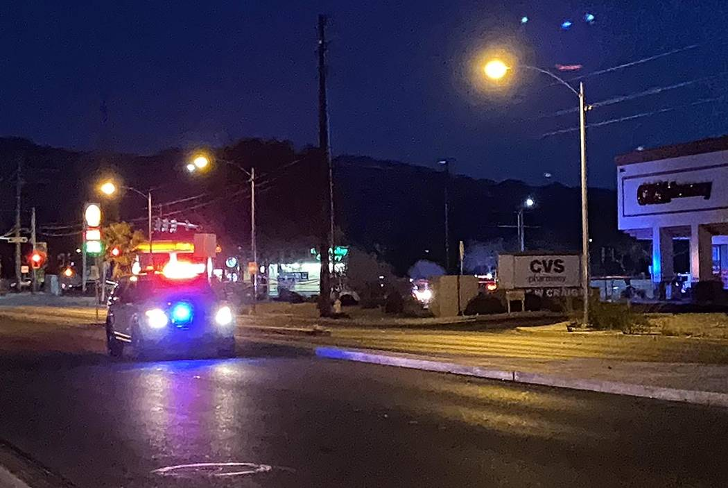 A fatal North Las Vegas police shooting scene near West Craig Road and Allen Lane on Thursday, ...