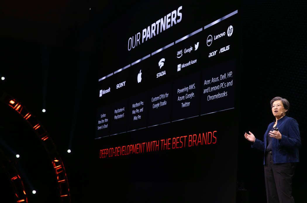 Lisa Su, CEO and president of Advanced Micro Devices, during the AMD news conference at Mandala ...