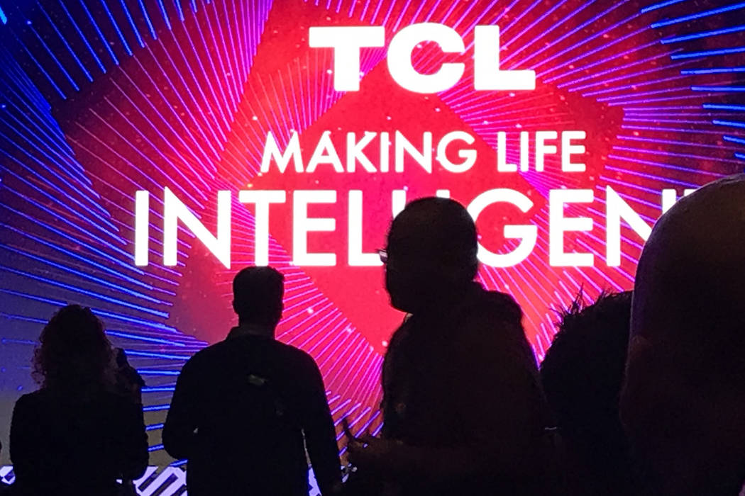 Industry insiders listen to a media event by TCL Electronics ahead of CES 2020 on Monday, Jan. ...