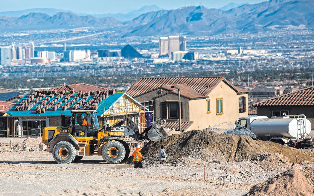 Benjamin Hager/Las Vegas Review-Journal This file photo shows construction workers preparing an ...