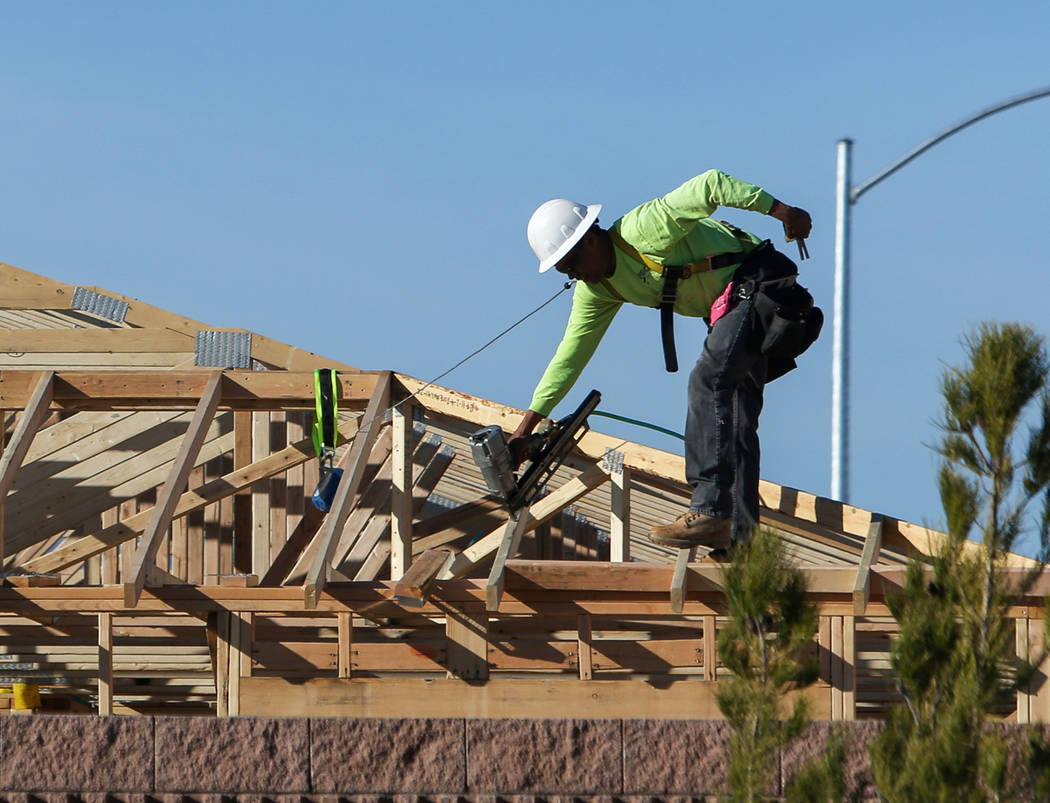 This Feb. 25 photo shows construction at KB Home's Desert Mesa neighborhood in North Las Vegas. ...