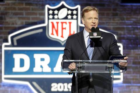 NFL Commissioner Roger Goodell speaks ahead of the first round at the NFL football draft, Thurs ...