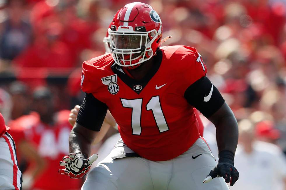 FILE - In this Sept. 7, 2019, file photo, Georgia offensive lineman Andrew Thomas (71) is shown ...