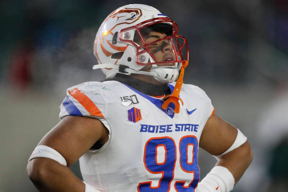 Boise State linebacker Curtis Weaver (99) in the second half of an NCAA college football game F ...