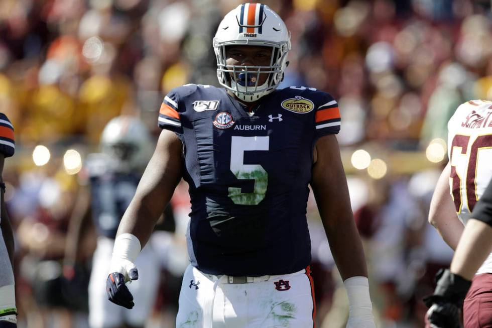 Auburn defensive tackle Derrick Brown during the first half of the Outback Bowl NCAA college fo ...