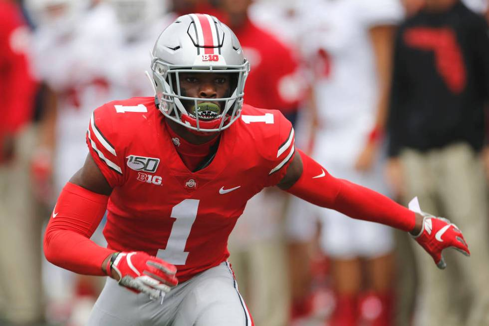 In this Aug. 31, 2019, file photo, Ohio State defensive back Jeff Okudah plays against Florida ...