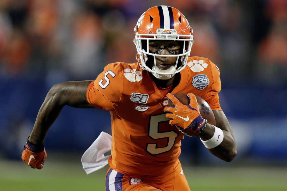 Clemson wide receiver Tee Higgins (5) runs against Virginia during the first half of the Atlant ...