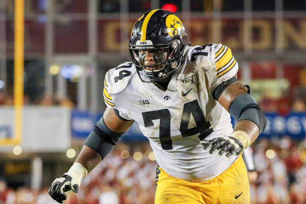 In this Sept. 14, 2019, file photo, Iowa offensive lineman Tristan Wirfs plays against Iowa St ...